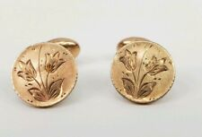 Tulips S & C Antique Victorian Bean Back Cufflinks Round Engraved