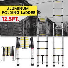 12.5FT /3.8m Aluminum Telescopic Ladder Non-Slip Extension 12 Steps Ladder +US