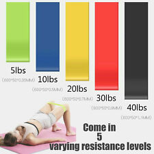 5x Exercise Resistance loop Bands for Fitness Stretch Strength Physical Therapay