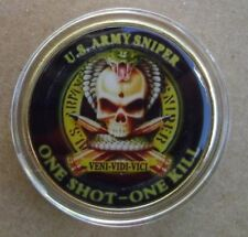 US Army Military Sniper Core Values Gold Challenge Coin one shot one kill