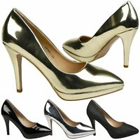 Verona Womens High Stiletto Heels Platforms Court Shoes Ladies Large Size 7 - 10