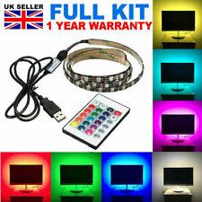 1 - 5M Colour Changing LED Strip USB TV Back Multi Colour Light Lighting Kit Set