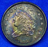 1835 Half Cent 1/2C Classic Head Monster Toned Uncirculated N2