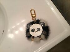 Louis Vuitton Calfskin Mink Fur Panda Puppet Bag Charm Key Holder Super Cute!