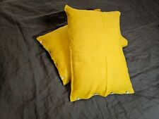 100% linen handmade 2 pillowcase mustard with buttons standard 20 x 27""
