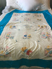 1950s embroidered quilt bunnies patchwork cotton quilt 1957 BD blue wh 72 x 47