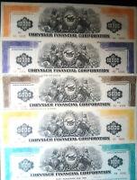 1-5 MEGA RARE HI INTEREST 70's CHRYSLER BONDS w ENGRAVED $ VALS $1-10K cv $100ea