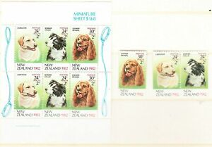 MINT 1982 NZ NEW ZEALAND HEALTH DOGS STAMP SET + MINI SHEET