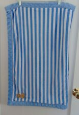 Carters Child Mine Monkey Blue Striped Velour Baby Blanket Sherpa Lovie Warm EUC