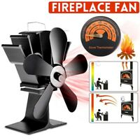 5 Blade Heat Powered Wood Log Burning Fire Burner Stove Top Fan