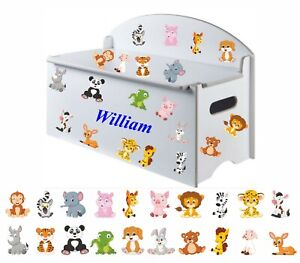 Boy or Girls Name (300mm) + Mix Of 20 Animals & Tractor  Stickers for Toy Box