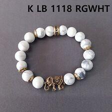 Gold Finished White Turquoise Stones Elephant Shape Stretchable Bangle Bracelet