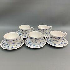 Myott Finlandia Cups & Saucers Blue & WhiteStaffordshire England Lot of 5