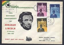 Ghana FDC 150th Birthday Anniversary of Abraham Lincoln, 1959 - SC# 39-41*