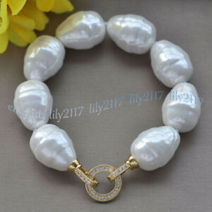 LARGE 20MM SOUTH SEA WHITE BAROQUE SHELL PEARL BEADS FASHION BRACELET 7.5''