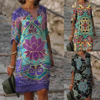 Women Boho Floral Casual Baggy Tunic Dress Summer Loose Beach Sundress Plus Size