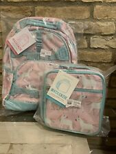 Pottery Barn Kids Pink Unicorn Large Backpack Lunch Bag Mackenzie Set School New