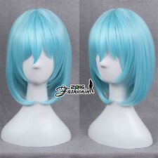 Medium Wavy Blue Anime For Touhou Project 30cm Cosplay Heat Resistant Wig