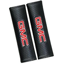 x2 GMC Black Carbon Fiber Look Embroidery Logo Seat Belt Cover Shoulder Pads