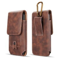 Brown Leather Belt Clip Holster Pouch Vertical Phone Holder Luxmo With Clip