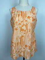Thurley Women's Summer Gathered Orange Floral Top Sz 10 A18 ~Free AU Post!