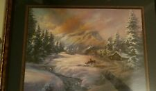 Home Interiors Picture Winter Scene Deer, Cabin, Snow, Mountains Lee Parkinson