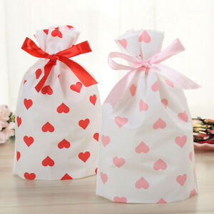 10-50X Pink Red Heart Valentine's Day Wedding Party Drawstring Packing Gift Bags