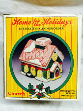 Home for the Holidays Decorative Candle holder handpainted ceramic CHURCH  S#B2