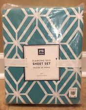 NEW Pottery Barn Teen Diamond Geo FULL Sheet Set AQUA