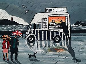 """PHIL LEWIS- RAINY DAY FISH & CHIPS AT THE SEASIDE- 12x16"""" 30x40cm NORTHERN ART"""