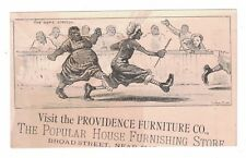 "Black Americana Victorian Trade Card Providence Furniture Co ""The Home Stretch"""