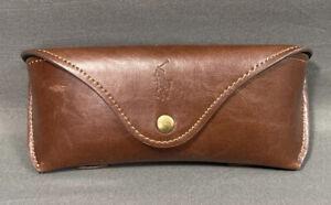 POLO RALPH LAUREN Brown Leather Hard Eyeglasses Case Back Belt Loop Green Fabric