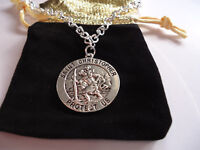 St Christopher Necklace chain Patron Saint of Travel Medal PROTECT US(B14556)