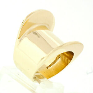 Vintage 14k Yellow Gold Barry Kieselstein Cord Wide Geometric Cigar Band Ring