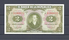 COLOMBIA BANKNOTES $2 1947 8 DIGITS