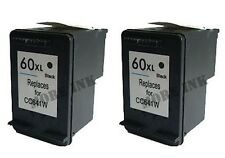 2pk CC641WN Black Ink Print Cartridge for HP 60XL 60 XL