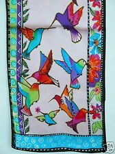 New 100% Silk Oblong Scarf Art Paint Humming Bird Pink