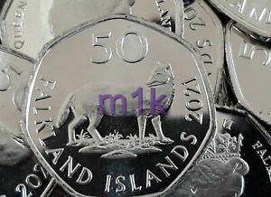 2021 WARRAH FOX Falkland Isles Falkands 50p Fifty pence UNC