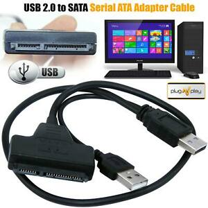 USB 2.0 To SATA 22 Pin 2.5 Inch Hard Disk Drive SSD Adapter Connector Cable Lead