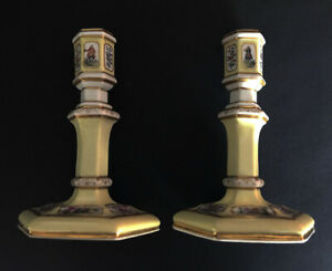 Beautiful pair of BERLIN PORCELAIN CANDLESTICKS, Germany, 19th Century