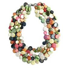 NEW LUSTROUS MULTI COLOR 6 STRANDS OF MOTHER OF  PEARL  COIN DISC NECKLACE