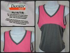 Danskin Pink & Gray Sleeveless Dance Exercise Top Girl's Youth XL 16 / 18