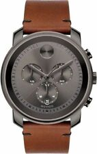 Movado Bold Grey Chronograph Dial Rustic Brown Leather Men's Watch Item No. 3600367