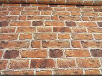 BRICK WALL Effect Curtain Upholstery Cotton Fabric Material Red Brick 140cm wide