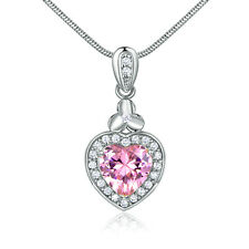 Lovely Pink Diamond Heart Clover Silver Gold Filled Pendant Women Lady Necklace