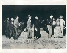 1935 Native Americans in Ordinary Clothes Fire Dance Cookson Hills Press Photo