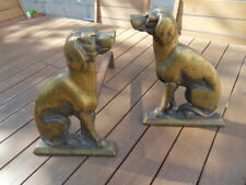 Paire de chenets bronze Chien chasse pour cheminée pair of andirons hunting Dog