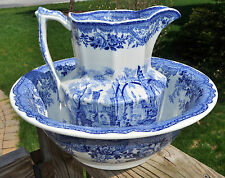 Lovely Antique Mason's Ironstone Blue Transferware Pitcher & Wash Bowl Set