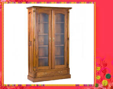 Solid Mahogany French Provincial Furniture Glass 2 Door Bookcase / 1 Drawer