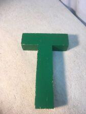 Letter T Big Vtg Wood Block Type Italic Font 8in X 5in X 15in Green
